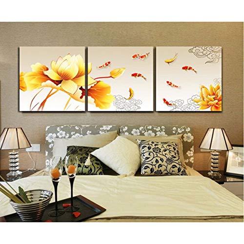 GYSS 3 panelen, decoratie voor thuis, woonkamer, Lotus, goudkleurig en paviljoen, moderne schilderijen op canvas, muurkunst, HD-foto's
