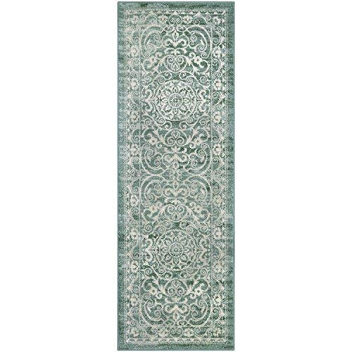 Maples Rugs Pelham Vintage Runner Rug Non Slip Hallway Entry Carpet [Made in USA], 2 x 6, Light Spa