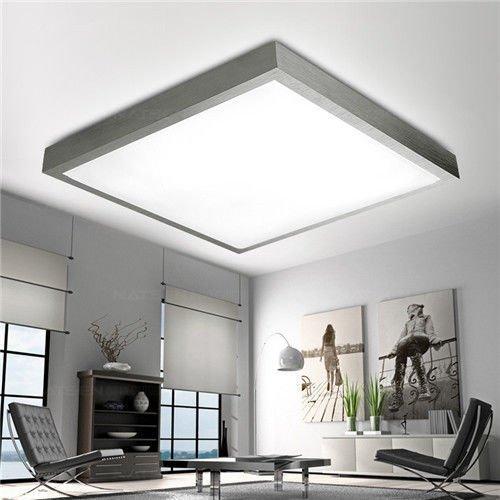 HS-Lighting 24W LED Deckenleuchte Deckenlampe Küchenlampe Wandlampe moderne Beleuchtung für Wohnzimmer Schlafzimmer Kinderzimmer Silber Alurahmen Warmweiß Rechteckig (480x75mm)