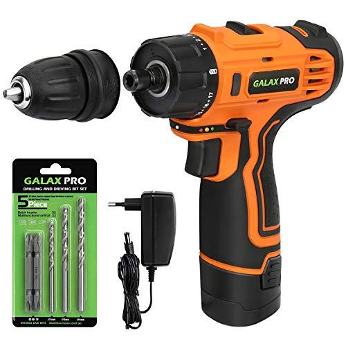 GALAX PRO Taladro de 2 velocidades y destornillador Inalámbrico Par Máx. 25N.m 17+1, 12V Batería de 1,3Ah, Mandril Portabrocas Desmontable 10mm, Iluminación LED Batería y cargador incluidos