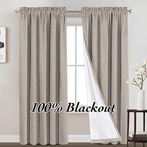 100% Blackout Curtains Primitive Linen Textured Curtain Drapes for Bedroom Full Light Blocking Window Curtains Draperies for Living Burlap Fabric Soft with White Liner (52 x 84 Inch, Taupe)