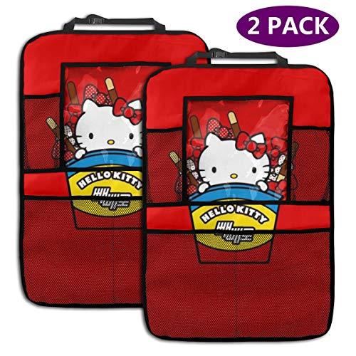 TBLHM Hello Kitty Lot de 2 Sacs de Rangement pour siège arrière de Voiture avec Support pour Tablette Rouge
