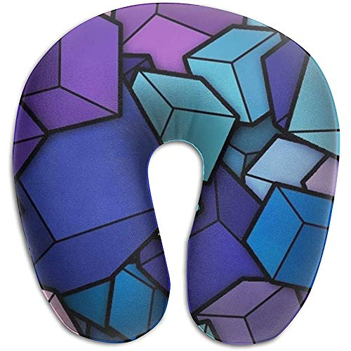Langsamer Rückprall Nackenhörnchen,Memoryschaumstoff Reisekissen,(Blue Cyan Purple Cubes) U-Förmiges Kissen Zum Schlafen,Für Flugzeuge,Camping,Zugschmerzen