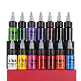 STIGMA Kit de Tintas para Tatuaje Tattoo Ink Set 15 ml 1/2 oz 14 Botellas Conjunto de Pigmentos para Tatuaje Tattoo Ink Kit Primarios de 14 Colores Suministros para Tatuajes