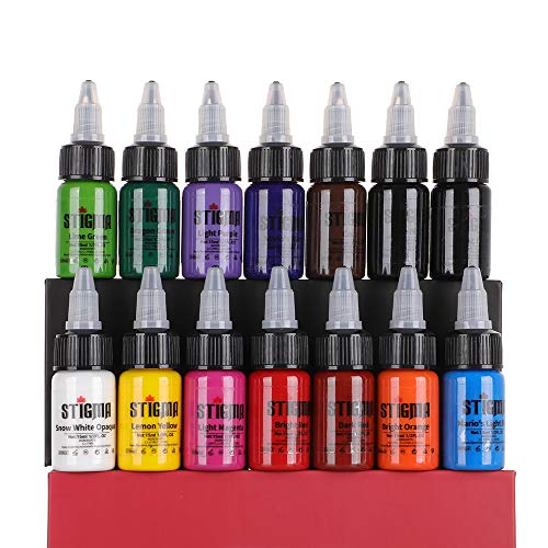 STIGMA Tattoo Ink Set 15 ml 1/2oz 14 Bottles Tattoo Pigment Set 14 Color Superior Tattoo Ink Set Tattoo Supplies TI4003-15-14