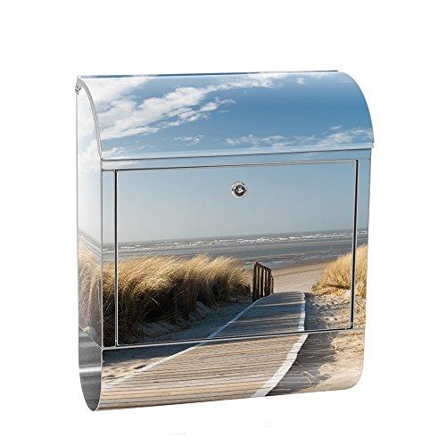 liwwing Briefkasten Edelstahl mit Motiv und Zeitungsfach, Zeitungsrolle als XXL Design Wandbriefkasten | Strand Meer Nordsee Wasser Himmel Sonne Sommer | no. 0038