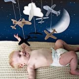 Crib Mobile Airplanes Cloud Nursery Decoration Grey and White, Navy Blue, Tan Baby Crib Mobile for Boys