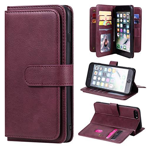 SevenPanda Brieftasche Hülle für iPhone 8 Plus, für iPhone 7 Plus 6 Plus 6S Plus Hülle, [10 Kartensteckplätze] PU Leder Kreditnehmer Folio Flip Multifunktional Ständer Magnetisch Abdeckung - Weinrot