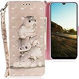 CLM-Tech Hülle kompatibel mit Motorola Moto E6 Plus - Tasche aus Kunstleder - Klapphülle mit Ständer & Kartenfächern, Hamster Muster