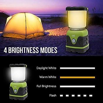 Lighting EVER Le Lanterne Camping LED, Lampe Camping Puissante 1000lm, Luminosité Réglable, Eclairage Camping Etanche, pour Camping, Bivouac, Pêche, Randonnée, Cave, 2pcs