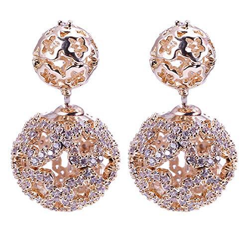 Ohrring Luxus 16mm Hohlkugel Ohrring gepflastert Voll Zirkonia reversiblen Doppelkugel Ohrstecker für Hochzeitstag
