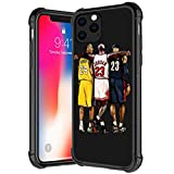 Compatible with iPhone 12 Mini Case, Three people Basketball Stars Pattern Tempered Glass iPhone 12 Mini Cases For Boys Man,Soft TPU Bumper Desgin Anti-Scratch Shockproof Cover iPhone 12 Mini 5.4-inch