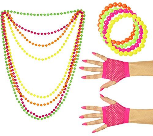 Panelize 80er Jahre Set Damen Neon 4 Perlenketten Handschuhe lang oder kurz 4 Perlenarmbänder (Handschuhe kurz)