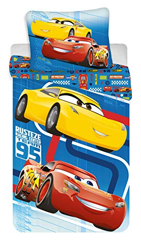 Disney Cars Blue Reversible Single Bed Cotton Duvet Cover Set