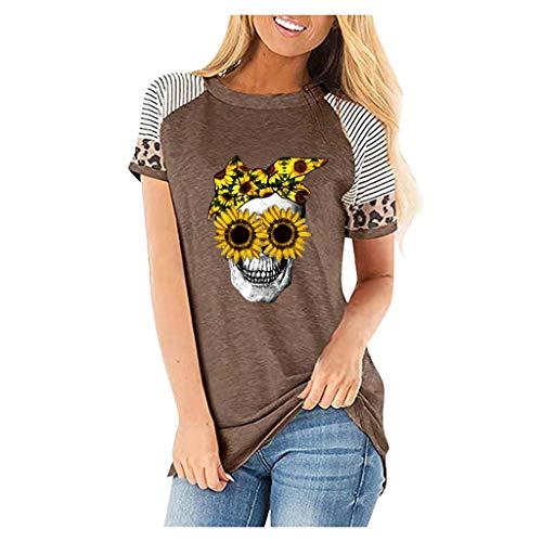 KIMODO T-Shirt Tops Damenmode Lässig Blusen Elegante Oberteile Blumendruck Kurzarm V-Ausschnitt Casual Hemd Langarm Shirt (Kaffee-B, L)