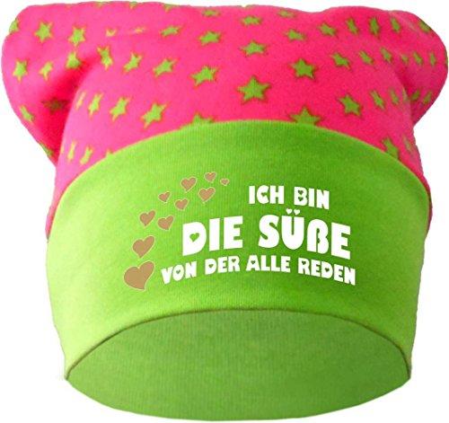 KLEINER FRATZ Baby Kopftuch Mütze (Farbe pink-Lime) (Gr. 2 (68-98) Ich Bin die Suesse von der alle reden