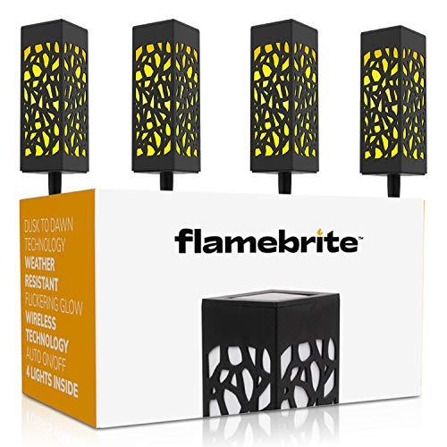 Brightology Flamebrite Outdoor Pathway Solar Lights (4 Lights), Garden & Landscape Light l Flickering Glow, Wire-Free, Auto On/Off, Dusk to Dawn Technology