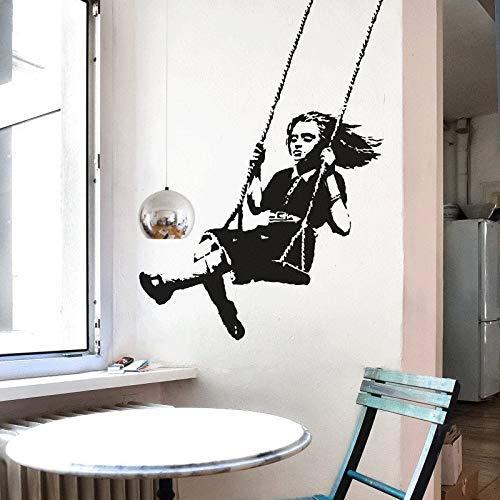 ASFGA Banksy Decal Schaukel schöne Mädchen Vinyl Wandaufkleber Street Art Wanddekoration Graffiti Innenausstattung Kinderzimmer Paar 62x87cm