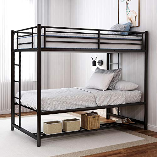 DERCASS Modern Style Metal Frame Bunk Beds Twin Over Twin Bunk Bed with Bottom Storage & Guard Rail...