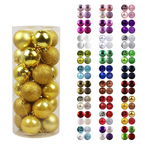 GameXcel 24Pcs Christmas Balls Ornaments for Xmas Tree - Shatterproof Christmas Tree Decorations Large Hanging Ball Gold 2.5' x 24 Pack