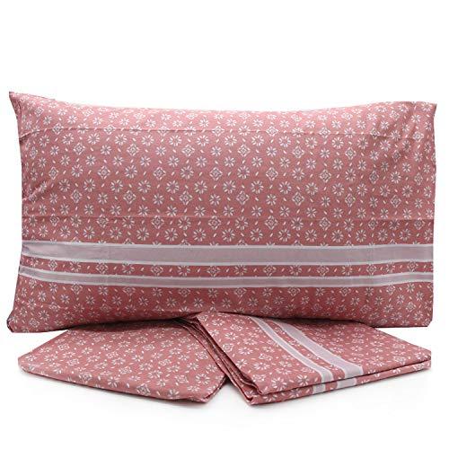 LOVETESSILE Juego de sábanas para cama individual, de una plaza y media, de matrimonio multifantasía con encimera, sábana bajera y funda de almohada - Variante 100 (individual, Z398)