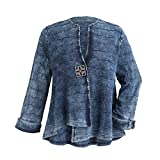 Parsley & Sage Women's Blue Waves Cotton Jacket - Lightweight Stonewashed Look - 1X by PARSLEY & SAGE