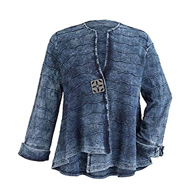 Parsley & Sage Women's Blue Waves Cotton Jacket - Lightweight Stonewashed Look - 3X by PARSLEY & SAGE