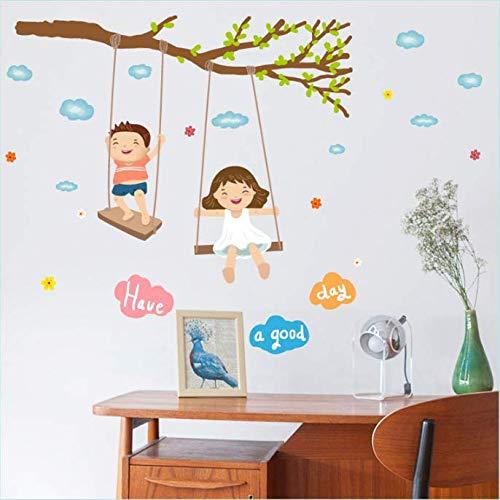 Ragazzo e ragazza dondolo comodino portico divano TV angolo sfondo adesivi murali decorativi 86 * 70 cm