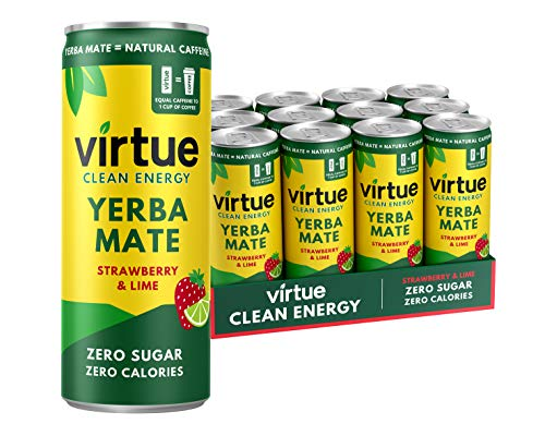 Virtue Yerba Mate - Energy Drink Naturale - Senza Zucchero, Zero Calorie, Vegano, Keto, Senza Glutine (Fragola & Lime, 12 x 250ml)