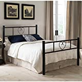 <span class='highlight'><span class='highlight'>EGGREE</span></span> Single Bed Solid 3Ft Metal Beds Frame Heart-Shaped with Large Storage Space For Children or Adults, Black