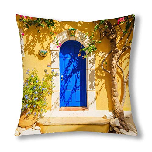 QUEMIN Summer Blue Door of Yellow Greek House with Flowers Decor Decorative Pillow Case Cushion Covers, Zippered Throw Pillowcase Protector, 18x18 Inch