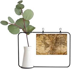 DIYthinker World Map Veins Pattern Background Metal Picture Frame Ceramic Vase Decor