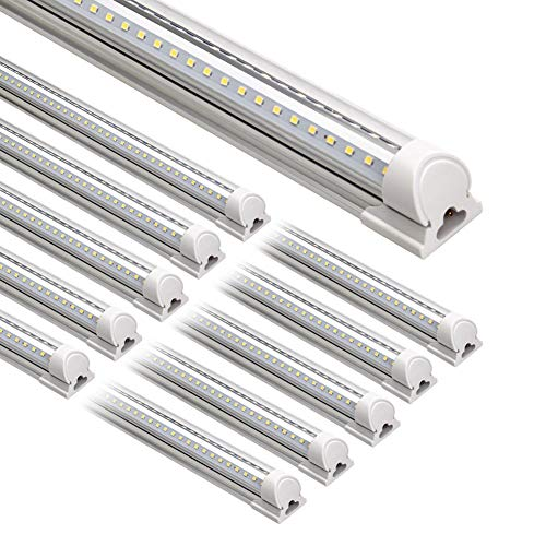 SHOPLED 8FT LED Shop Light Fixture Double Sided V Shape T8 Integrated 8 Foot Led Bulbs for Cooler Garage Clear Cover 4 Pack 72w 7200 Lumens 6000K Cool White,High Output Tube Light Warehouse