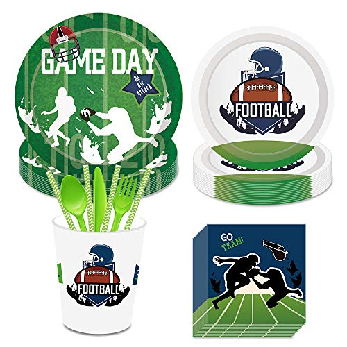 Football Party Supplies,Superbowl Party Include Dinner Plates,Dessert Plates,Cups,Napkins,Straws for Emoji Themed Party(Serves8,203Pcs)