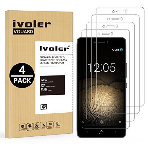 ivoler [4 Unidades] Protector de Pantalla para BQ Aquaris U Plus/BQ Aquaris U/BQ Aquaris U Lite, Cristal Vidrio Templado Premium
