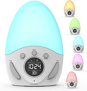 Kids Alarm Clock, Wake-up Light Clock with Sunrise Simulation, Sleep Training, Color Changing, Touch Night Light, Nursery Lamp, Christmas Gift for Baby, Girls, Toddlers, Children