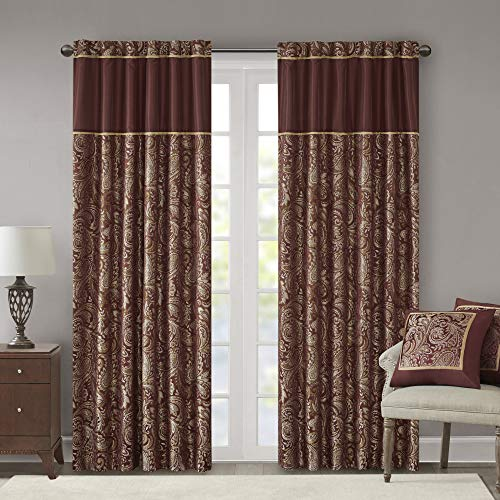 """Madison Park Aubrey Faux Silk Paisley Jacquard, Rod Pocket Curtain with Privacy Lining for Living Room, Kitchen, Bedroom and Dorm, 50"""" x 84"""", Burgundy"""