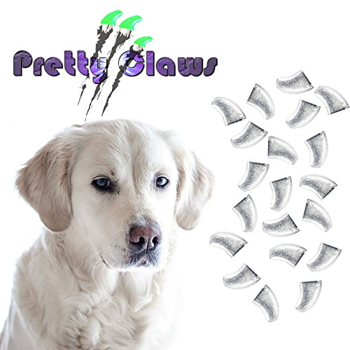Pretty Claws 60 Piece Soft Nail Caps with Adhesive for Dog Paws - Crystal Clear X-Small