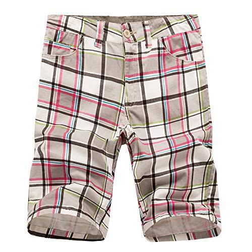Pantalones Cortos a Cuadros de Moda para Hombres Pantalones Cortos Casuales Sueltos de Cintura Media de Verano con Botones clásicos y Tapeta con Cremallera 30