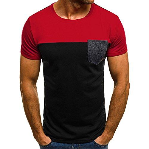 SANFASHION Herren Modern Muscle T-Shirt Slim Fit Patchwork Top Rundhals Kurzarm Basic Fitness Streetwear