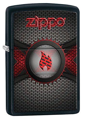 Zippo Zippo Logo Flame-Black Matte-Spring 2017 Feuerzeug, Chrom, Silber, 5.8 x 3.8 x 2 cm Silber