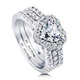 Engagement Ring Set Wedding Rhodium Plated Sterling Silver 925 100% Solid Cubic Zirconia Stones AAAAA+ Alternative to Diamonds 1.25 Carat Promise Anniversary Bridal Valentines Marie's Heart Design A43 (6)