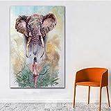 NIMCG Art Master Creación Vida Silvestre Acuarela Elefante Lienzo Pintura Sala de Estar Arte de la Pared Mural Imagen Impresión del Cartel Decoración para el hogar (Sin Marco) A3 60x90 CM