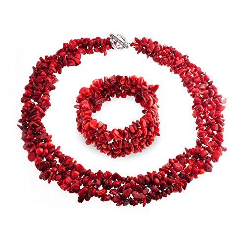 Bling Jewelry Tinta Rosso Corallo Chip Cluster Dichiarazione Bib Collare Collana Braccialetto Stretch Gioielli Impostare per Donne