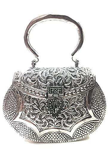 Monedero de latón antiguo hecho a mano de plata para mujer con asa