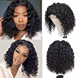TOOCCI Human Hair Deep Wave Bob Wig Deep Curly 4'x4' Lace Front Closure Wig 100% Unprocessed Brazilian Hair Wigs For Black Women 150% Density Curly Human Hair Wavy Wig Glueless Lace Wigs 14 Inch