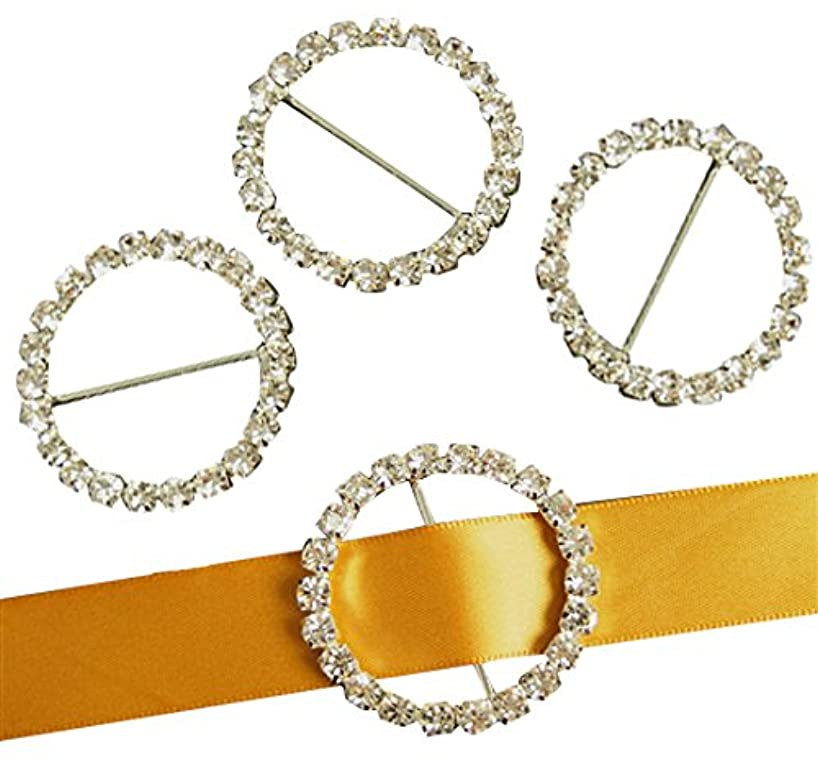 Homeford Firefly Imports Round Ring Rhinestone Buckle Brooch, 1-3/4-Inch, 4-Pack, Silver, Circle