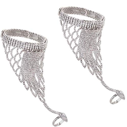 Holibanna 2pcs Rhinestone Crystal Hand Chain Bracelet with Ring Slave Chain Link Finger Ring Harness Bracelet for Women Girls Brides Bridesmaid (Silver)