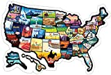 RV State Sticker Travel Map - 23x13 Inch Large Visited USA States Map - Bright Non-Fade 50 US State Stickers - Long-Lasting United States Decals for RV, Camper, Trailer, Motorhome (GlibertVillageGoods)