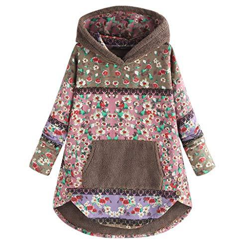 yazidan🌿 Damen Vintage Kapuzenpullover Blumendruck Sweatshirt Lange Ärmel Pullover Warme Outdoorjacke Frauen Kapuzenjacke Baumwolle und Leinen Hoodies Freizeit Mäntel Outwear